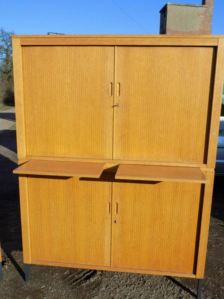 Large Tambour Door Cabinet Office Filing Storage Cupboard Shelves