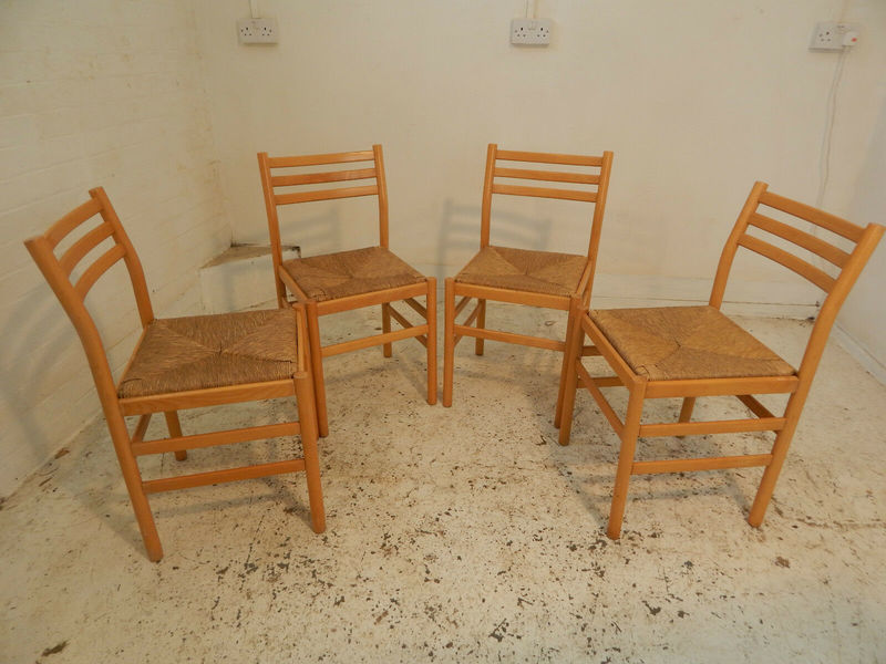 Ladder Back Rush Seats Dining Chairs 4 Chairs Chairs Dining Room Four Wooden