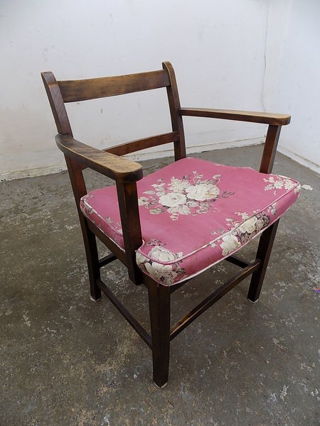 Small Vintage 1930 S Wooden Arm Chair Floral Cushion Square Legs Hall Bathroom