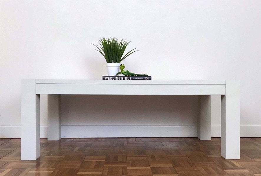 Solid Wood Cream Coffee Table With Stencil On The Top Living Room Furniture