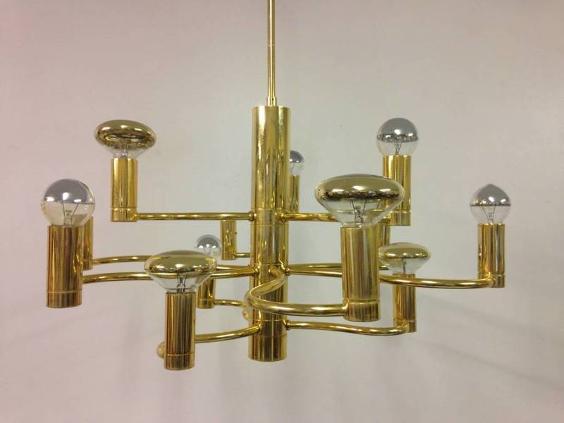 1970s Brass Chandelier With Wavy Stems