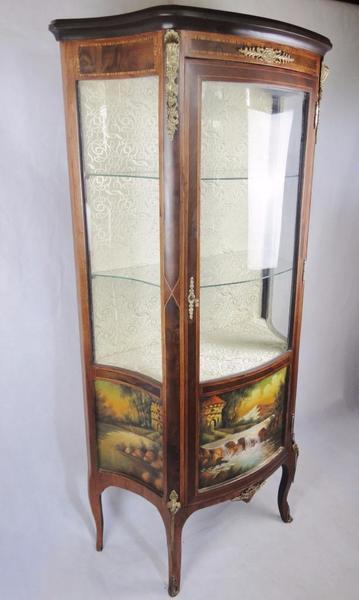 Antique Style French Louis Rosewood Ormolu Vernis Martin Vitrine Display Cabinet