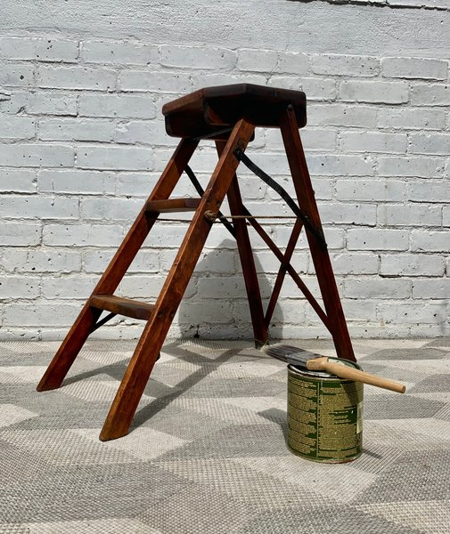 Magnificent Vintage Antique Wooden Step Ladder Folding Beatyapartments Chair Design Images Beatyapartmentscom