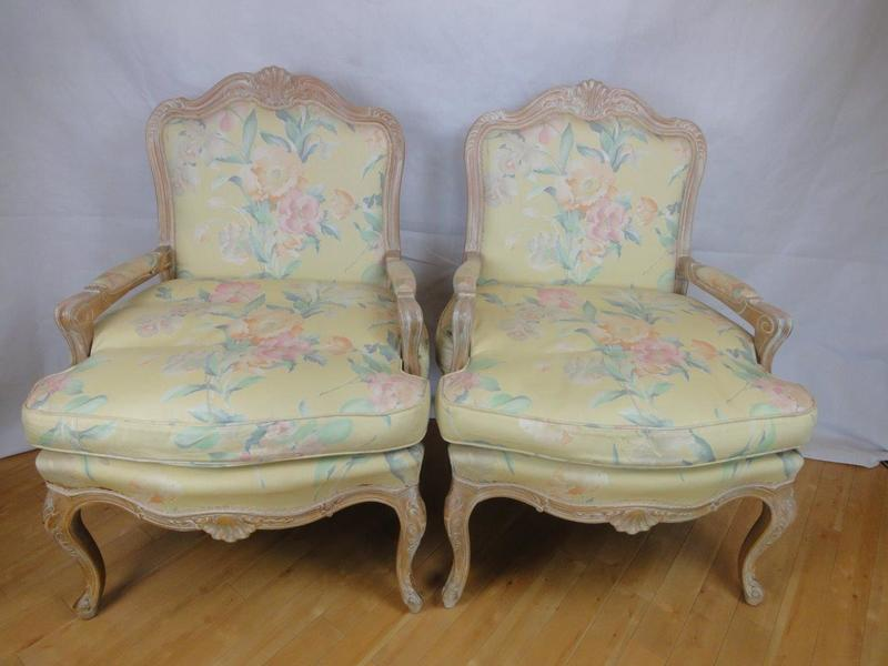 Pair Of Antique Style French Louis Limed Oak Armchairs With Floral Cotton Upholstery