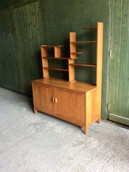Mid Century 1960s Custom Made Teak Wall Unit Room Divider Display Cabinet