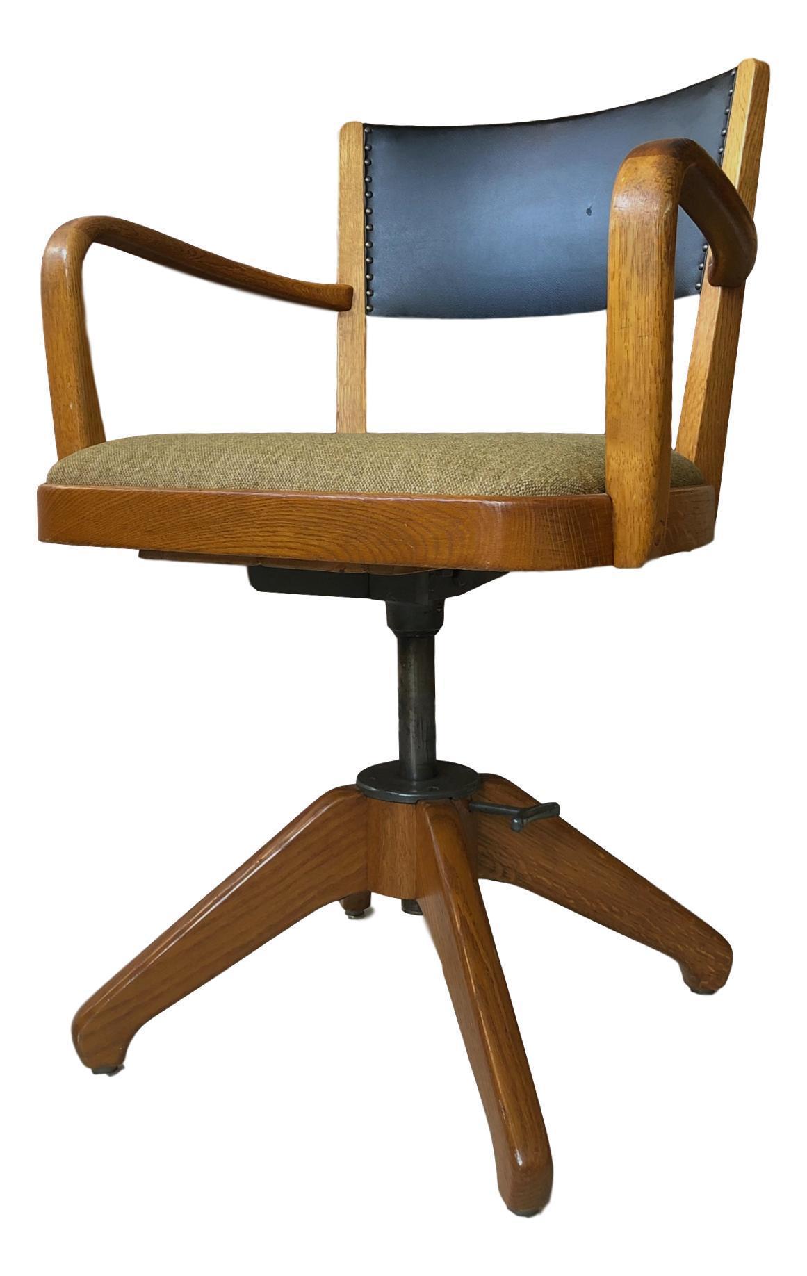Swedish Art Deco Oak Swivel Desk Chair
