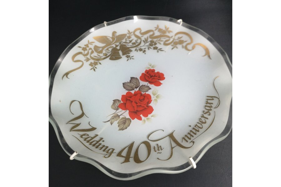 40th Wedding Anniversary Gift.Vintage Wedding Anniversary Plate 40th Wedding Anniversary Gift Glass Plate