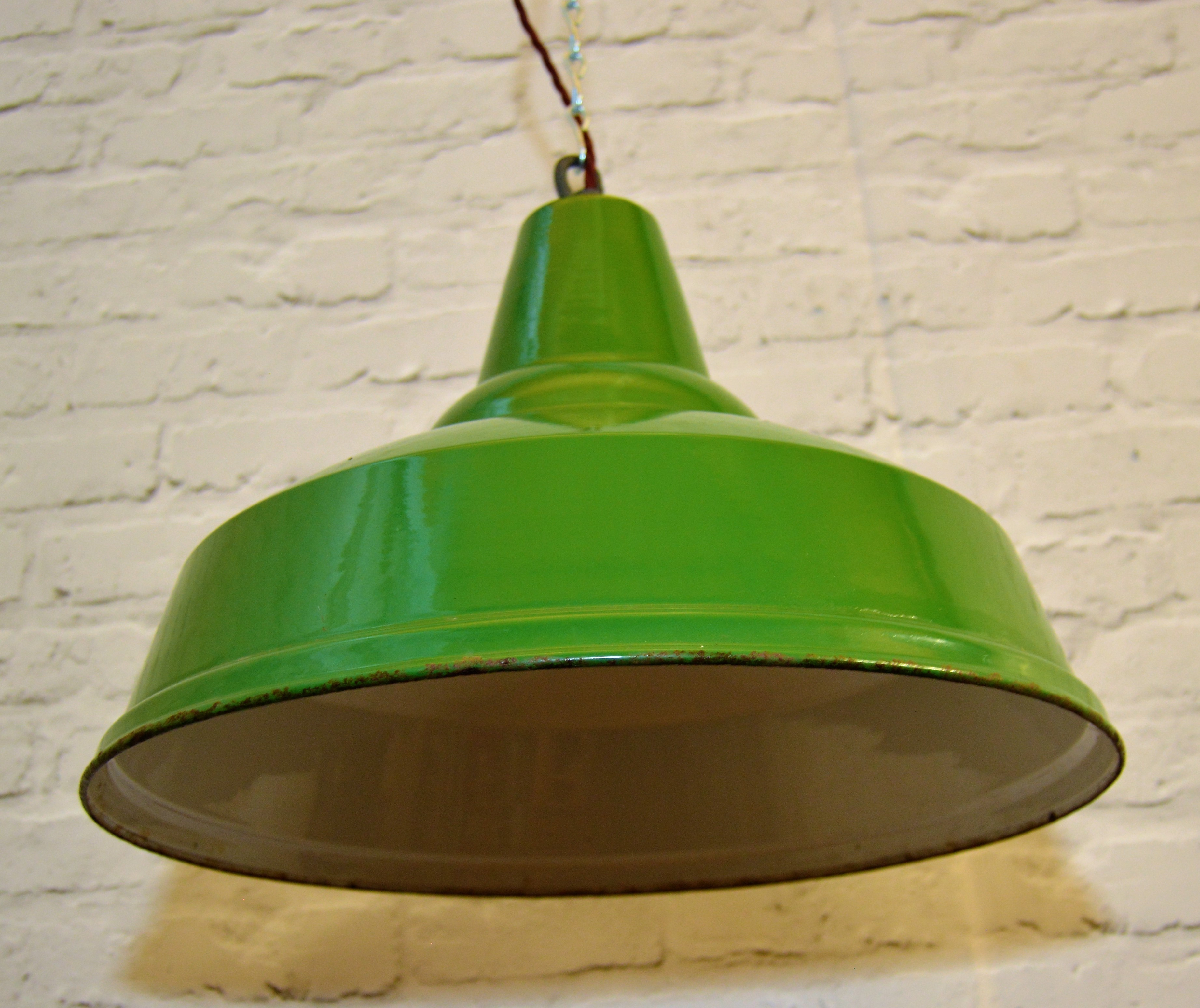 1950s R E A L Pendant Lamps Light Enamel Antique Vintage Metal Factory Old