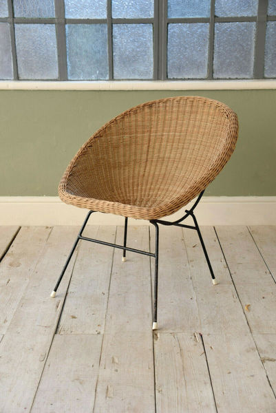 Vintage Cane Wicker Rattan Chair Mid Century photo 1