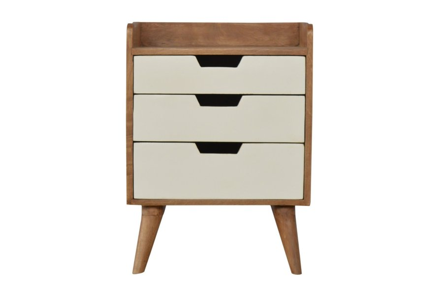 Bedside With 3 White Hand Painted Cut Out Drawers photo 1