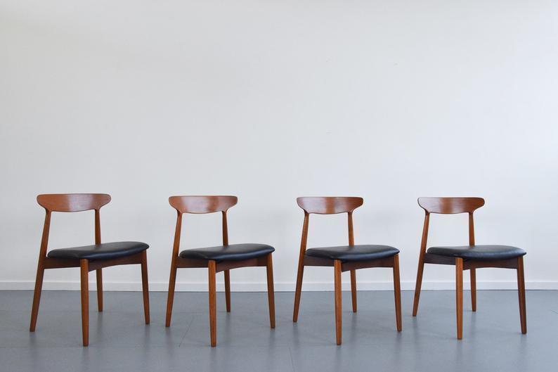 Vintage Set Of Four Harry Ostergaard For Randers Mobelfabrik Model 59 Danish Teak Dining Chairs photo 1