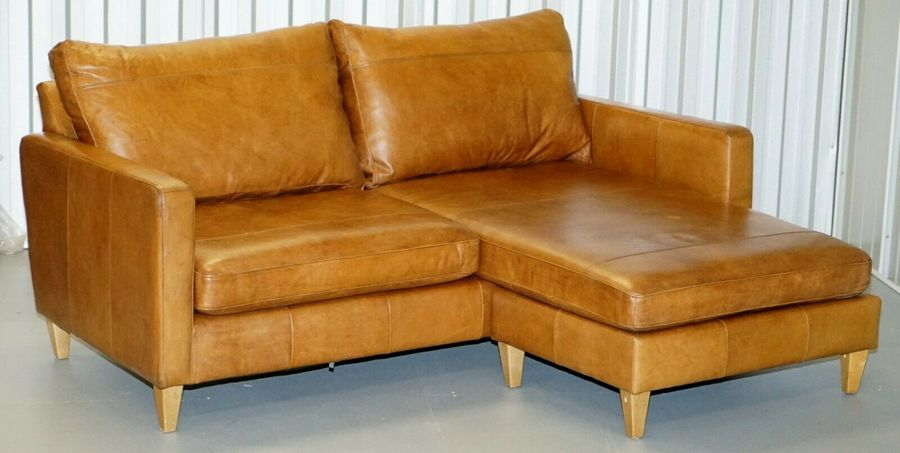 Tan Leather Corner 2 Seater Sofa Or Sofa Chaise Changeable Footstool Swap  Sides