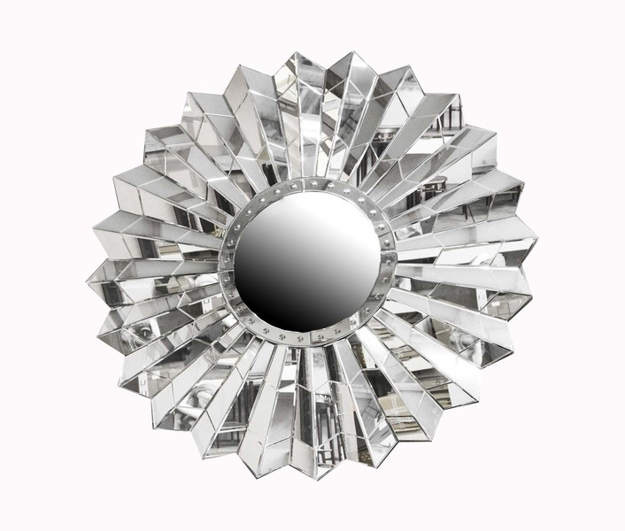 Circular Art Deco Style Sunburst Mirror photo 1