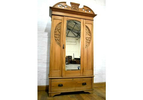 Alert Edwardian Art Nouveau/style Mahogany Single Wardrobe 100% Original Antiques