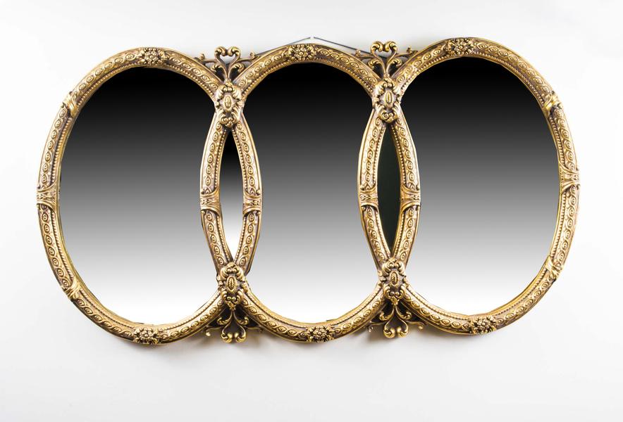 Fantastic Decorative Ornate Triple Gilded Mirror