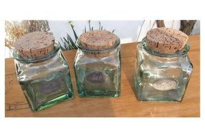 Thumb set of 3 large 15 cms vintage french glass storage jars cork lids metal labels ffdf4754 22f6 4663 a28b 7f4bf14751a5 0