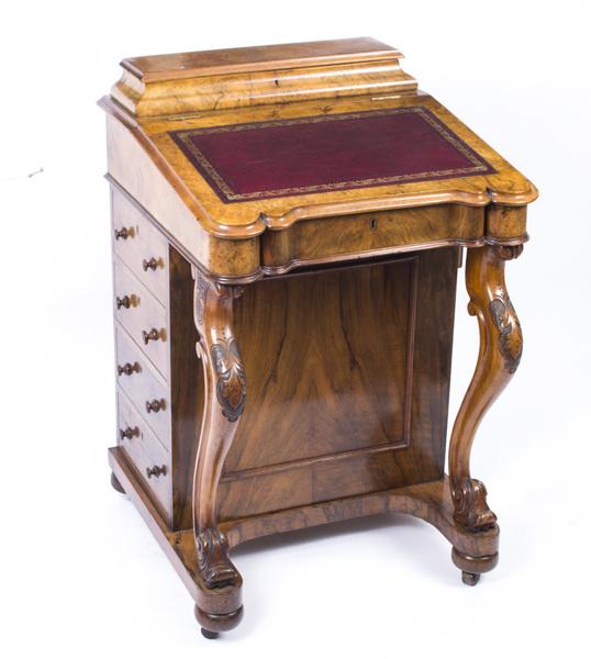Antique Victorian Burr Walnut Davenport Desk C.1870 photo 1
