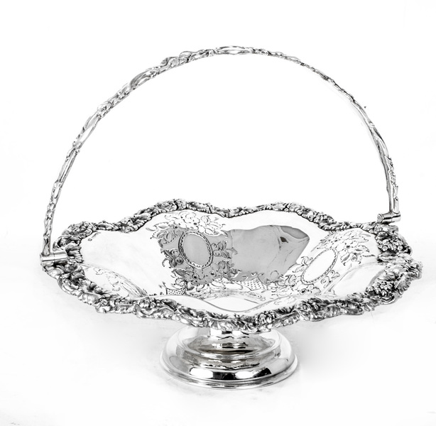 Antique Victorian Silver Plated Fruit Basket C 1880