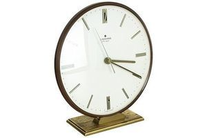 Thumb vintage 1960s modernist brass metal ato mat table clock by junghans germany 0