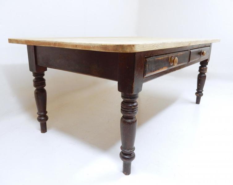 Large Pine Antique Farmhouse Kitchen Table photo 1