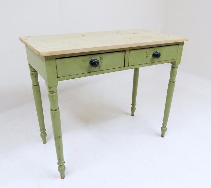 Victorian Green Pine Side Table photo 1