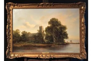 Thumb large tranquil norfolk river landscape anglo saxon church english oil painting 0