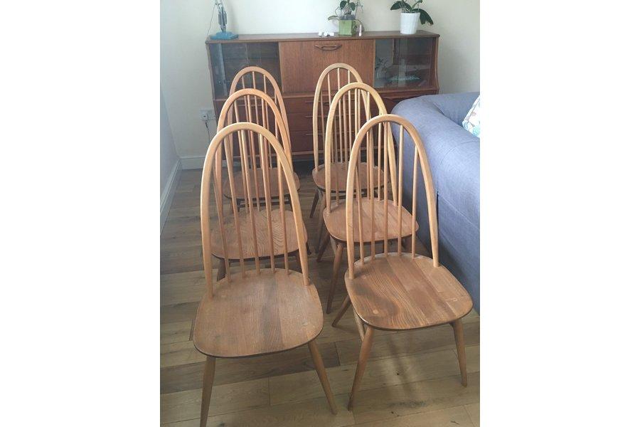 4 X Ercol 365 Windsor Elm Dining Chairs Mid Century Modern Original Vintage 1960 S