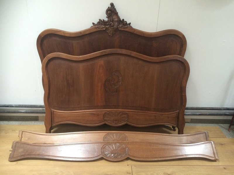 Louis Xv Style Carved Walnut Bed Frame