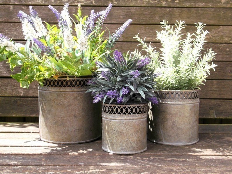 Set 3 French Vintage Metal Garden Planters Flower Pots Vases Containers. Rustic French Chic. Vintage Garden. Art Deco Nouveau & Set 3 French Vintage Metal Garden Planters Flower Pots Vases ...