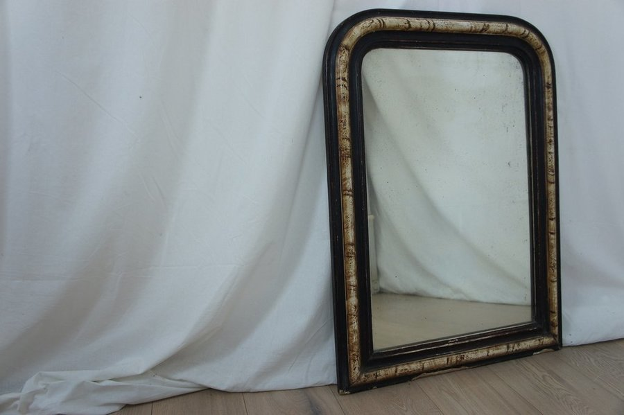 Vintage Louis Phillippe Mirror Black And Tortoise Shell Effect  photo 1