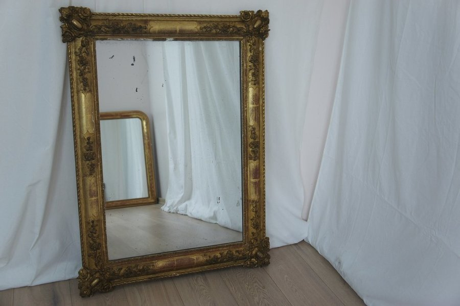 Vintage Rectangular Floral Mercury Mirror