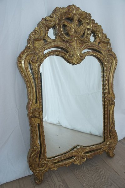 Decorative French Mirror Gold Leaf On Wood photo 1