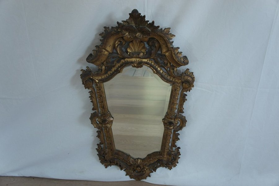 Vintage Italian Gold On Sculpted Wood Decorative Mirror