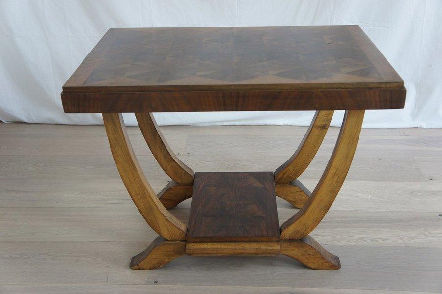 1950's Walnut Veneer Gueridon Side Table photo 1