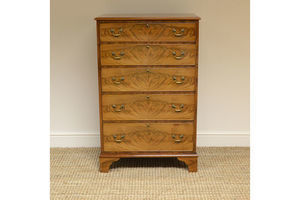 Thumb tall slim edwardian golden mahogany antique chest of drawers 0