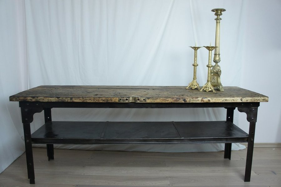 Vintage Industrial Cast Iron Console Table