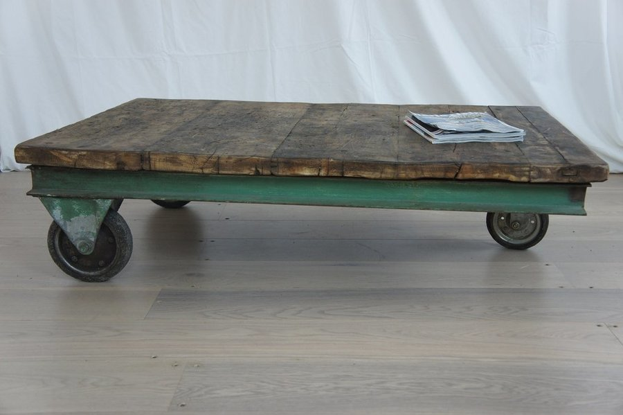 Large Industrial Trolley Coffee Table