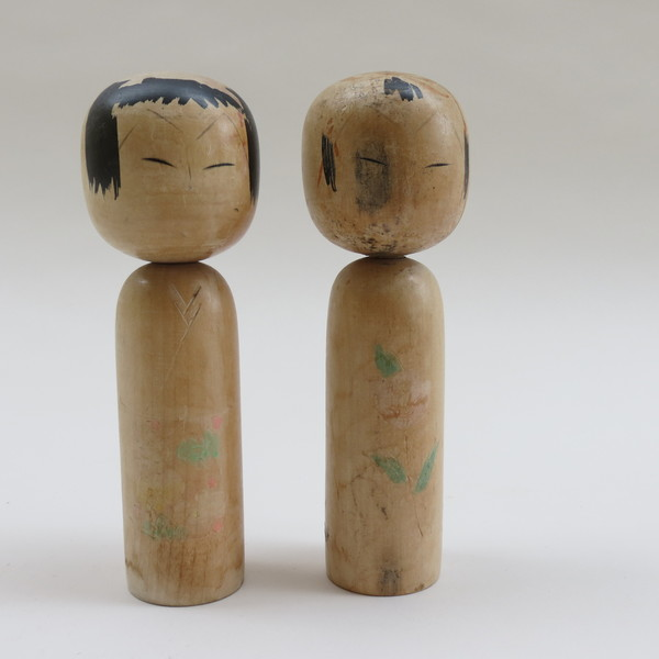 Pair Of Vintage Japanese Kokeshi Dolls 1950s