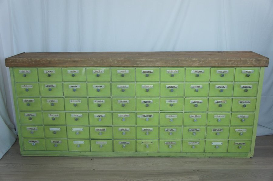 Vintage Original French Spice Mixer's Drawers photo 1