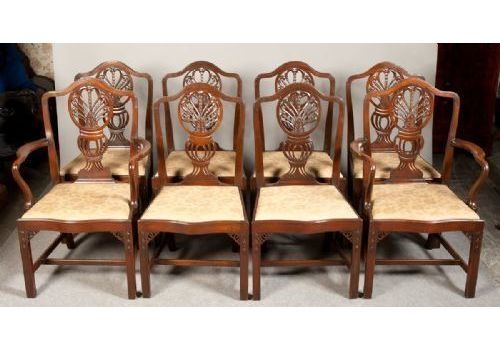 Set Of 8 (6+2) Georgian Revival Dining Chairs