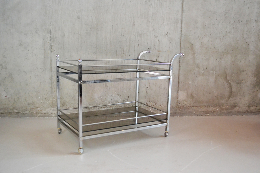 1940's  Mid Century Chrome And Smoked Glass Double Level Trolley