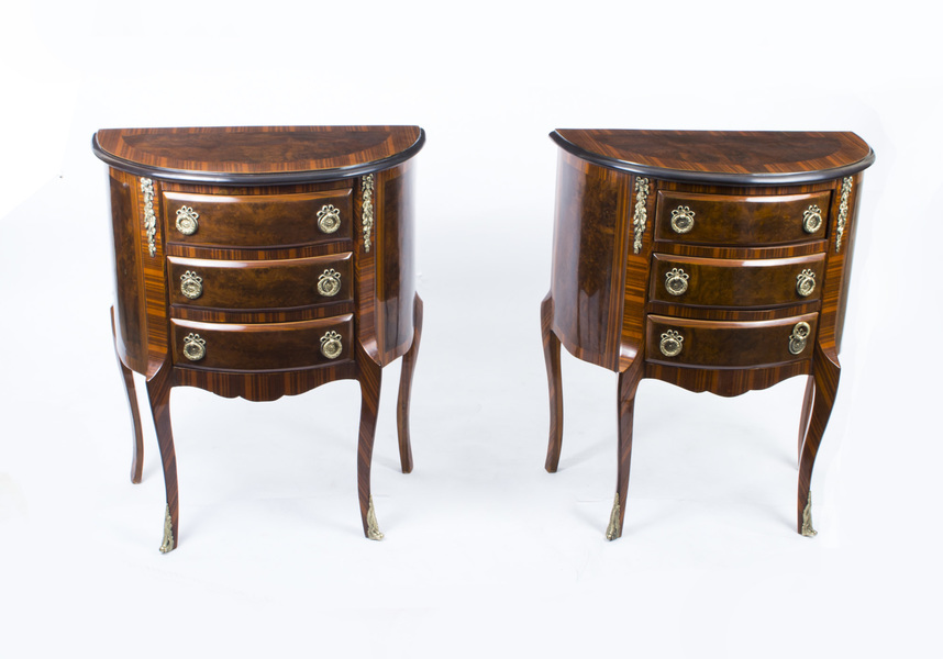 Stunning Pair Burr Walnut Kingwood Bedside Chest Cabinets