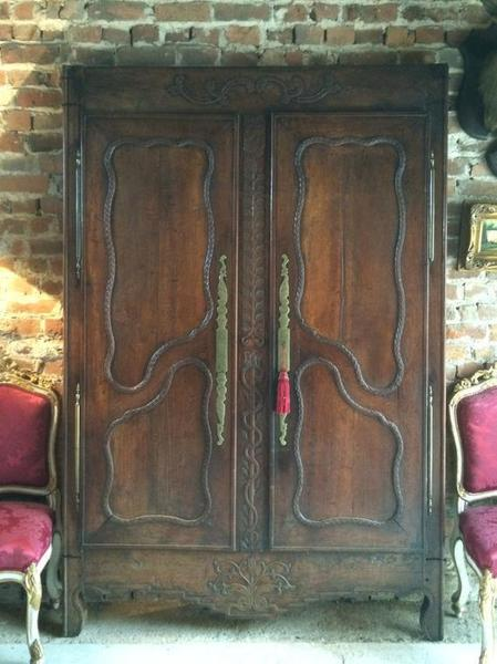 Antique French Solid Oak Armoire Frontage Screen 19th Century