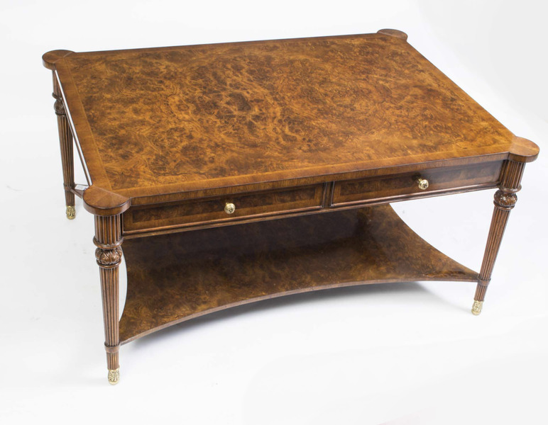 Elegant Burr Walnut Coffee Table With Four Drawers photo 1