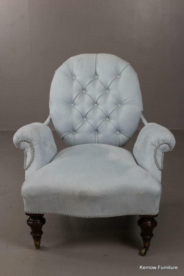 Antique Pale Blue Upholstered Small Button Back Chair ...