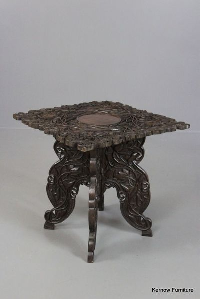 Antique Early 20th Century Carved Wooden Indian Square Side Table