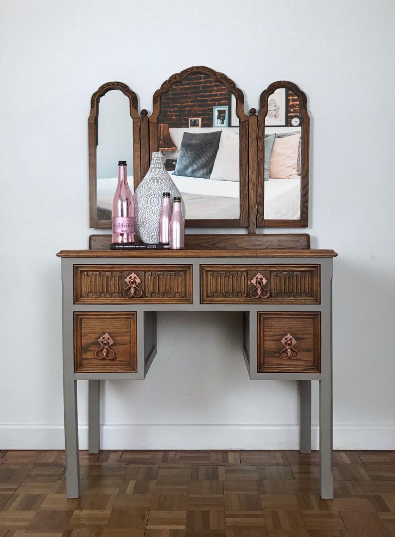 big sale 8f6f2 2c33c Stone Grey Rustic Oak Triple Mirrored Dressing Table, Matching Bedroom Set  Available