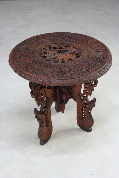 Carved Indian Teak Occasional Table