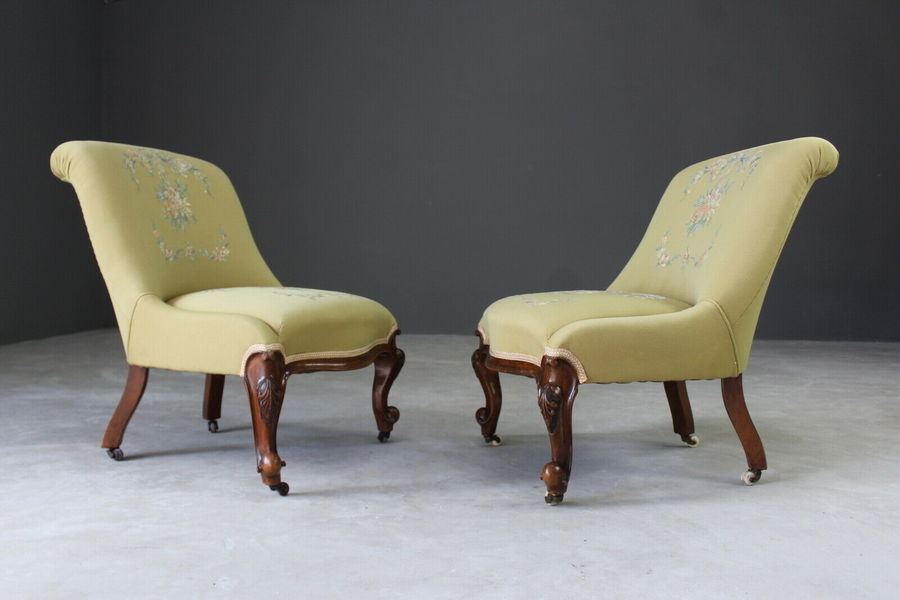 Pair Antique Yellow / Green Upholstered Bedroom Fireside Nursing Chairs