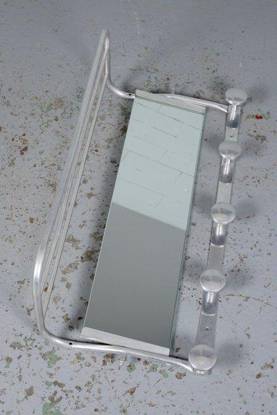 Aluminium Coat Rack With Mirror And Hat Shelf